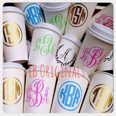 Monogram disposable travel coffee cups