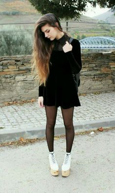 little black dress with tights