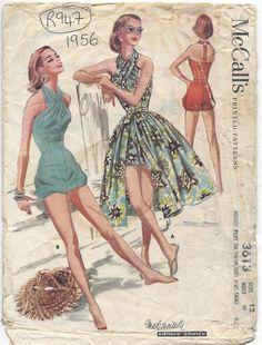 1956 Vintage Sewing Pattern B30 HALTERNECK BATHING SUIT SKIRT PLAYSUIT RR947)  #McCalls