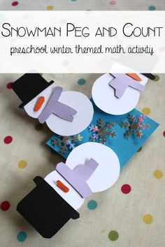 Snowmen Count and Peg Math Activity. Work on 1 to 1 correspondence and fine motor skills with a homemade resource.