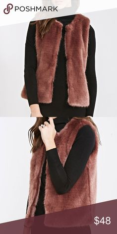 "Rose Gold FAUX FUR VEST NEW with TAGS!! BRAND NEW with TAGS!! Adorable, Plush Faux Fur Vest in Beautiful Rose Gold (Blush) Color!! Solid Faux Fur Covers both Front & Back!! Silky Rose Gold Interior!! This looks soo cute with All long sleeve tops, & dresses, is an essential Layering Piece for this Fall & Winter!! Warm, Plush, & soo chic!! Length: 22-22.5"" / Shoulder: 15-16""  Jackets & Coats Vests"