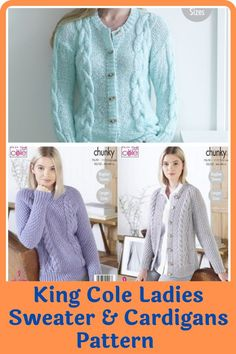 These King Cole ladies sweaters and cardigan knitting patterns are not only about something practical and something you will be happy about but also proving that it's possible to make elegant, wearable and fashionable cardigans right at the comfort of your home. The knitting patterns feature cardigans that come in different colors and different finishes. The patterns cover a variety of sizes including larger sizes. #cardiganpatterns#sweaterpatterns#knittedsweaterpattern#easesweaterpatterns Jumper Patterns, Cardigan Pattern, Knitting Patterns, Wrap Cardigan, Sweater Cardigan, Men Sweater, The Cardigans, King Cole, Getting Cozy