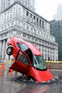 PR stunt from Canada - to draw attention to a new website and smartphone app aimed at addressing potholes. Motorists can't miss that one (brainchild of Taxi).