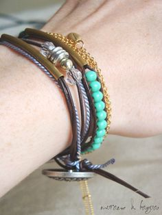gold line friendship bracelet. single leather wrap.  thehouseofhemp   :: murano & tagua :: etsy.com
