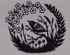 Night Flowers Papercutting. Like the circle composition and the laurel-like leaves transitioning into grass.