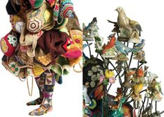 Nick Cave is a creative jack-of-all-trades. Details of his incredible fashion costumes. Cave's eclectic costumes are made of upcycled/recycled objects and materials discovered on the streets of NYC at the many flea markets and rummage sales.