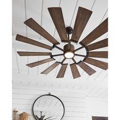 Monte Carlo Prairie 62 in. Integrated LED Indoor/Outdoor Aged Pewter Ceiling Fan with Light Kit and Light Grey Weathered Oak Blades - The Home Depot Farmhouse Style Ceiling Fan, Farmhouse Lighting, Windmill Ceiling Fan, Outdoor Ceiling Fans, Led Ceiling, Rustic Ceiling Fans, Ceiling Decor, Exterior Ceiling Fans, Coastal Ceiling Fan