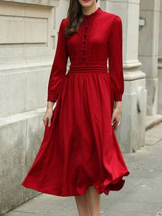 Red Long Sleeve Polyester Folds Solid Midi Dress