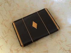 Vintage Klix Marathon Cigarette Case Gold Tone Black Enamel Bakelite Original Marathon Products Bag by TinselandFlamingo on Etsy