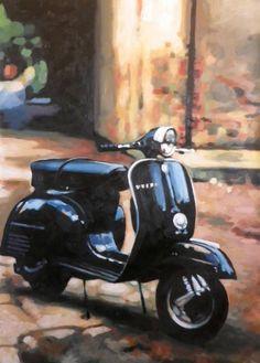 "Saatchi Art Artist Thomas Saliot; Painting, ""Black Vespa"" #art"