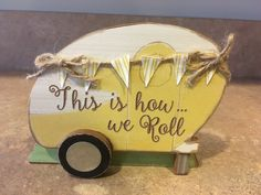 Wood Happy Camper Table Trailer