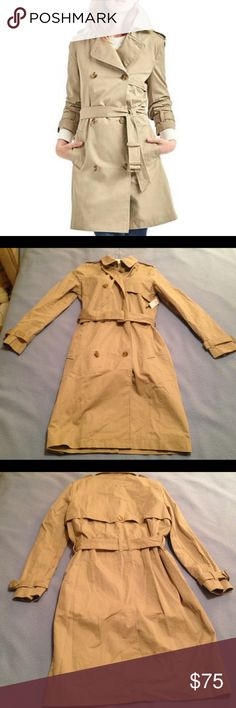 🎉HP🎉 NWT GAP Classic Trench Coat Oak 🎉Host Pick 01/02 Fashion Favorites Party!🎉NWT GAP trench coat w/ hook/eye closure. Silky smooth twill weave. Chambray body lining, twill sleeve lining. Buckle-tabs at sleeve cuffs. Point collar & lapel. Double-breasted front. Button-tab detailing at shoulders. Tie-belt at waist. Front welt pockets. Buttoned storm flaps, front/back. Rear vent. Gap says hem is mid-thigh, but it was just above my knee. gap.com gift tag attached (currently selling for…