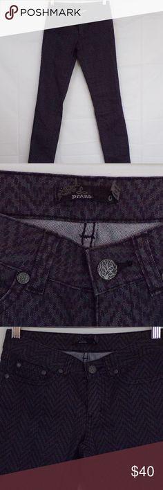 Prana Kara Jeans, Sz 0 Prana Kara skinny jeans, herringbone pattern, style W4Kara112,   Waist: 13.5 Rise: 7 Inseam: 30  C Prana Jeans Skinny