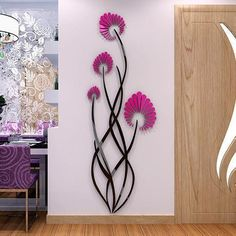 """removable wall stickers sayings. CLICK Visit link for more details - Wall Decals: The Perfect """"Stick-on"""" Design. Simple Wall Paintings, Wall Painting Decor, Mural Floral, Flower Mural, Flower Wall Decals, Decoration Stickers, Wall Stickers Home Decor, Wall Decorations, Wall Art Designs"""