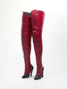 Amazing turn of the century red leather Cancan boots. Made by Maniatis Bottier of Paris.