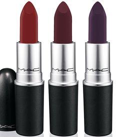 MAC x Nasty Gal Collection out December 4th. Left to Right: Stunner (Clean Red, Matte), Runner (Burgundy, Matte), Gunner (Deep Purple, Matte)  #MACxNastyGal