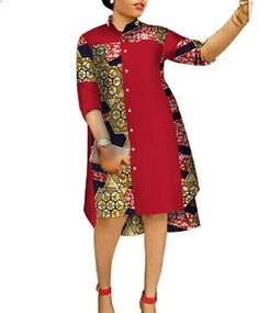 Find Coolred-Women Casual Plus-Size Shirts High Low Floral African Print Dress online. Shop the latest collection of Coolred-Women Casual Plus-Size Shirts High Low Floral African Print Dress from the popular stores - all in one African Shirt Dress, Best African Dresses, African Shirts, Latest African Fashion Dresses, African Print Dresses, African Attire, African Dress Designs, Dress Fashion, African Dresses Plus Size