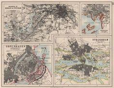 Stockholm, Berlin, Copenhagen City, Oslo, Scandinavian, Vintage World Maps, Exterior, Basement, Cities