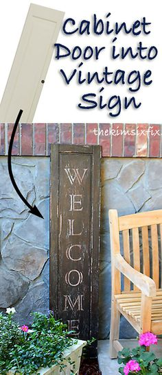 "The Kim Six Fix: ""Vintage"" Welcome Sign from an Ikea Cabinet Door"