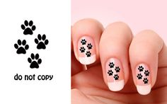 Set of 20 Cat Paw  nail art decals by BeautyIsPower on Etsy, $1.98