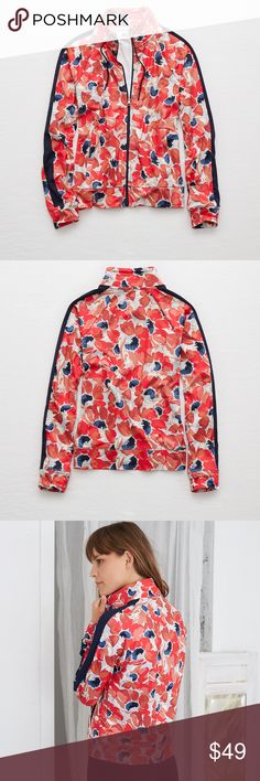 aerie Floral Track Jacket, sz. L SMOOTH fabric Easy fit with a zip front Slant pockets Drawstring stand collar The inside is brushed and so soft you'll only believe it when you touch it! 86% Polyester, 14% Spandex aerie Jackets & Coats