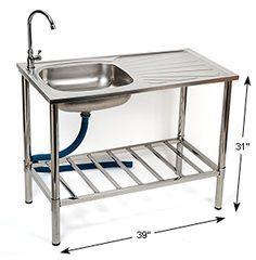 Choosing a New Kitchen Sink Outdoor Garden Sink, Outdoor Sinks, Outdoor Kitchen Design, Kitchen Layout, New Kitchen, Kitchen Sinks, Outside Sink, Portable Sink, Outdoor Cooking Area