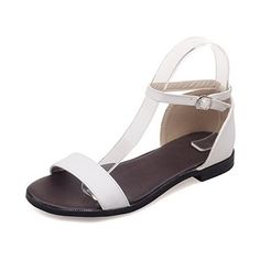 AllhqFashion Women's Soft Material Buckle Open Toe No Heel Solid Flats-Sandals ** Be sure to check out this awesome product. (This is an affiliate link and I receive a commission for the sales) Korean Shoes, Open Toe Flats, Flat Sandals, Womens Flats, Cool Things To Buy, Image Link, Special Deals, Amazon, Heels