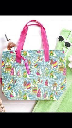 d35cc270ac5a8a Lilly Pulitzer You Gotta Regatta Large Insulated Cooler Purse Bag Tote Pink  Blue | eBay