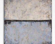 Gran pintura abstracta, pintura abstracta grande del mar, pintura Original grande, grande azul blanco pared arte, gran textura pared pintura