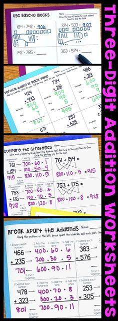 Three-Digit Addition Math Worksheets Using Addition Strategies