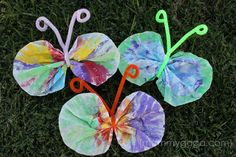 Coffee filter butterflies...Maddie did this in preschool and it turned out so cute we might just do it at home