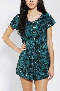 One & Only X Urban Renewal Button-Front Romper #urbanoutfitters