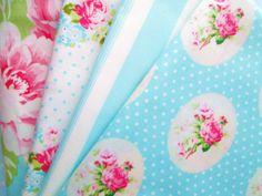 Shabby Chic Blue Floral Fat Quarter Bundle