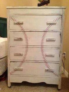 baseball dresser perfect for a baby boy nursery or boy bedroom with a baseball theme Baseball Dresser, Baseball Furniture, Just In Case, Just For You, Old Dressers, My New Room, Boy Room, Child's Room, Nursery Room