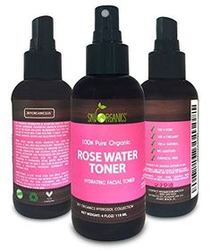 Organic Rose Water Toner by Sky Organics 4oz-100% Pure, Organic Distilled Rosewater Toner For Face And Hair- Best Gentle Facial Cleanser -Preps Dry & Acne Prone Skin for Serums, Moisturizers & Makeup -- Check out the image by visiting the link.
