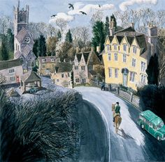 Winter at Castle Combe, Wiltshire, Francis Farmar Art Illustration Vintage, Landscape Illustration, Landscape Art, Landscape Paintings, John Galliano, Steve Madden, Castle Combe, Victorian Art, Naive Art