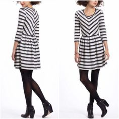 """MAKE OFFER - ANTHRO Puella Striped Dress Super comfy striped dress from Anthropologie by Puella. So easy to throw on casually, or dress it up!  Size M 57% Cotton, 43% Poly Length: approx 32"""" Sleeve length: approx12.25"""" Chest: approx 16""""  OFFERS WELCOME ❌NO Trades❌ Anthropologie Dresses"""
