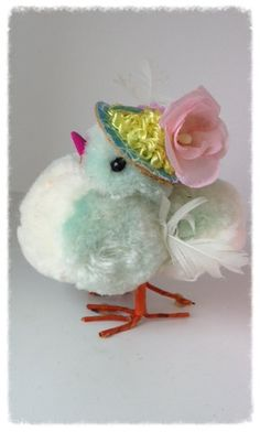 Vintage Pom Pom Chick in an Easter Basket