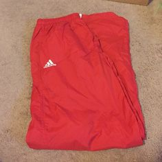 Red adidas swishy pants Gently worn, in great condition ! Adidas Pants Track Pants & Joggers