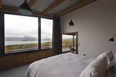 #Laid #LochEriboll #Scotland #scenery #view #hills #sea #beach #landscape #bedroom #bed #window #furniture #fixings #lighting #lights #timber #modern #design #interior #innovation