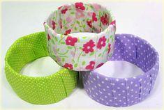 Passo a passo: Aprenda fazer lindos braceletes usando tecido e caixinha de leite