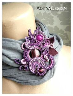Soutache Brooch, Handmade Jewelry, Purple Pink, Soutache Jewelry, OOAK Brooch, ALEXTRASHA Model by AdityaDesign