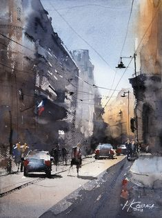 Maria Cornea, Streets of Bucharest Watercolor Sketch, Watercolor Artists, Watercolor Paintings, Watercolors, Shadow And Maria, Street Painting, Impressionist Art, Art Graphique, Painting Lessons