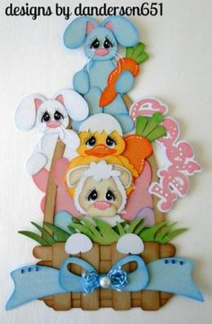 Easter Basket Pals Paper Piecing Embellishment - Made using Treasure Box Design files