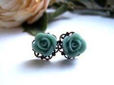 the petite teal lillian earrings by barberryandlace on Etsy