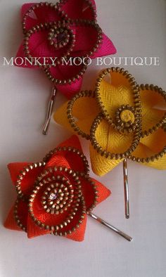 Colorful Zipper Flower Bobby Pins by MonkeyMooBoutique on Etsy, $6.00