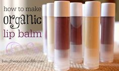 How to Make Lip Balm: Recipe makes about 25 tubes (adjust recipe if you want to make more or less) INGREDIENTS:  6 tablespoons organic coconut oil (olive oil or shea butter are also good choices) 2 tablespoons beeswax granules 1 1/2 teaspoons organic beet root powder or hibiscus powder for tint (optional) 30 drops of your favorite essential oils (optional) – here's where I order my essential oils