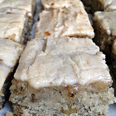 Banana Bread Brownies ~ I made these and the banana bread part was awesome but the frosting was way too sweet. It was better without it. The best part of the banana bread (to me) is the super moist part that is usually in the middle. These bars are super moist like that throughout. If frosting is a must have I would put some cream cheese frosting on top.