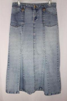 Christopher and Banks Long Jean Skirt Modest Flare Womens Size 4 #ChristopherBanks #FlareSkirt