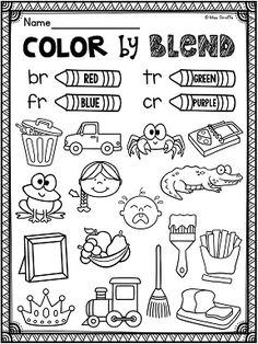 Color by consonant blends and so many other R blends.